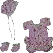 Three Piece Pink Outfit for Small Bisque Baby and Toddler Dolls