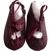 Burgundy Leather Doll Shoes