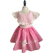 Adorable Hot Pink Cotton and Organdy Poodle Doll Dress 1950s