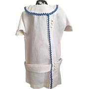 Ribbed Cotton Dropped Waist Doll Dress for French or German Bisque