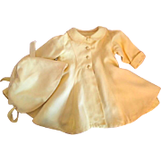 Yellow Gabardine Doll Coat and Matching Bonnet for Large Dolls 1950s