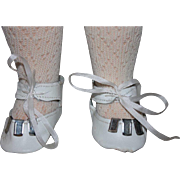 White Leather Doll Shoes for French or German Dolls