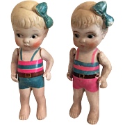 Pair of Nippon Made in Japan All Bisque Kewpie-Types 1920s