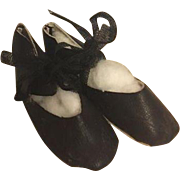 Black Satin Shoes for Boudoir and Cloth Dolls