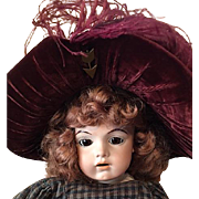 Burgundy Velvet and feather Hat for Bisque Dolls