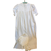 Rigged Cotton Christening Gown for Large Composition, bisque Dolls