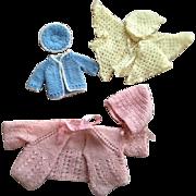 Three Doll Sweater Sets Pastels