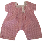 Pink and White Gingham Doll Romper 1930s