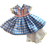 Blue and White Gingham Doll Dress and Underwear 1950s
