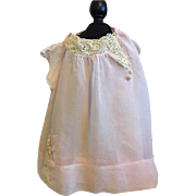 Precious Pink Batiste Baby Dress with Embroidered Lace for Mama Dolls too 1910