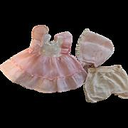 Pretty Pink Dress, Bonnet, Underwear for Effanbee Patsy Ann and Friends 1930s