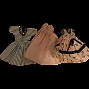 Three Factory Fashion Doll Dresses 1950s