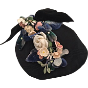 Pretty Black Picture Doll Hat with Flowers for French or German Bisque