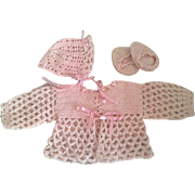 Three Piece Pink Doll Sweater Outfit 1940s