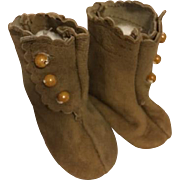 Brown Suede Doll Boots for Bisque Dolls