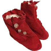 Red Suede Side-Buckle Doll Boots for Bisque Dolls