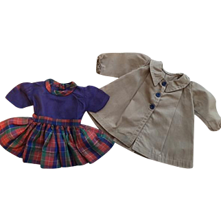 Coat and Dress for Hard Plastic and Composition Dolls 1940s