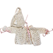 Crocheted Sweater and Nightcap Style Bonnet for Bisque Dolls