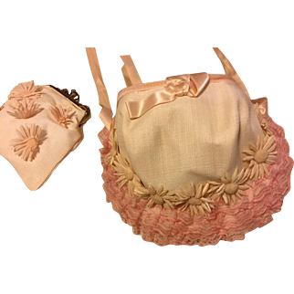 Pretty Flower and Lace Straw Hat and Purse for Large Dolls 1950s