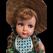 Flirty Eyed Hard Plastic Doll Italy 1950s