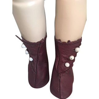 Leather Side Button Doll Boots for French or German Bisque
