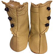 Light Beige Leather Side Button Boots for Bisque Dolls