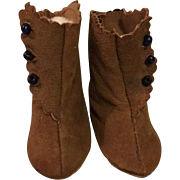 Brown Suede Side Button Boots for Bisque Dolls