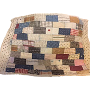 Vintage Feedsack Hand Stitched Doll Quilt 1920s