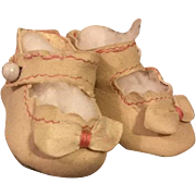 White Bowed Doll Shoes for Bisque Dolls