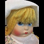 Darling Pouty Cloth Doll 1940s