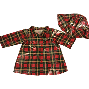 Darling Vinyl Plaid Doll Raincoat and Hat
