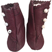 Leather Side Button Boots for French or German Dolls