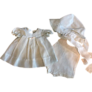 Ideal Dotted Organdy Dress, Bonnet, Onesie for Mama Dolls and Composition Dolls 1930s