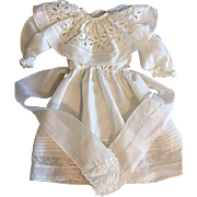 Beautiful White Antique Dress for French or German Bisque Dolls