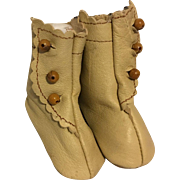 Beige Leather Side Button Doll Boots for Bisque Dolls