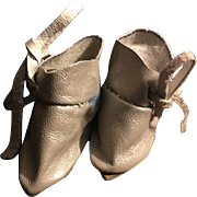 Silver Leather Ankle Boots for Bisque Dolls