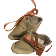 Beige Leather Ankle Doll Boots for Bisque Dolls