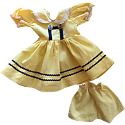 Yellow Nautical Style Doll Dress and Unders for Hard Plastic Dolls 1950s