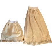 Two Antique Wool Half Slips for Bisque Dolls 1900