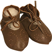 Brown Leather Doll Shoes for Bisque and Modern Dolls