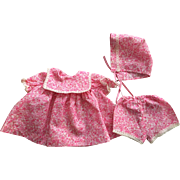 Pink and White Dress, Bonnet, Unders for Babies and Toddlers 1950s