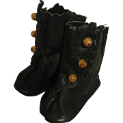 Black Leather Side Button Boots for Bisque Dolls