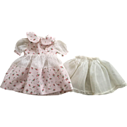 Cotton and Dotted Swiss Dress and Organdy Slip for Hard Plastic Dolls 1950s