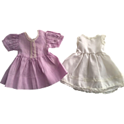 Lovely Lavender Dimity Doll Dress and Slip for Hard Plastic and Composition Dolls 1940s