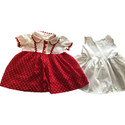 Red and White Dimity Dress and Slip for Chubby Toddlers 1930s