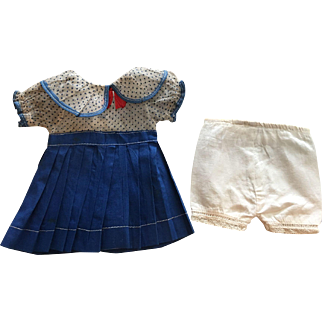 Blue and White Organdy and Cotton Doll Dress and Underwear 1930s