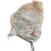 Dainty White Crocheted Bonnet for Baby Dolls