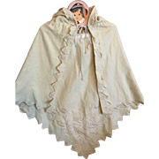 Antique Wool Flannel Child's Cape for Large Bisque Dolls