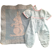 Footed Pajamas and Edmond Blanket for Dy-Dee Baby 1950