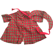 Red Plaid Doll Coat and Bonnet 1940